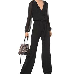 Michael Kors Black Jump Suit Wide Leg Ruffle